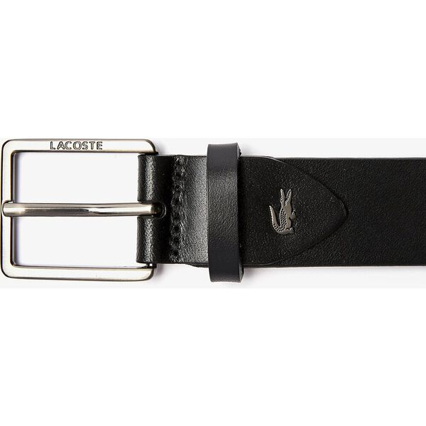 Men's Engraved And Embossed Crocodile Leather Tongue Buckle, NOIR, hi-res