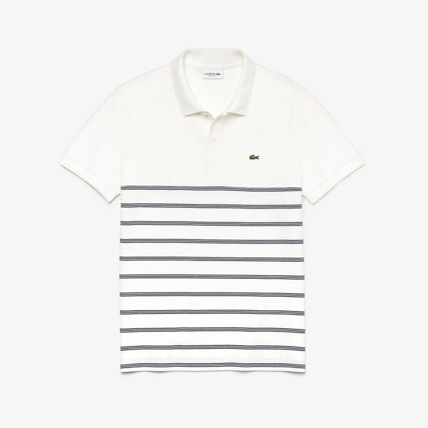 Men's Stripe Reg Fit 2 Ply Polo, FLOUR/NAVY BLUE, hi-res