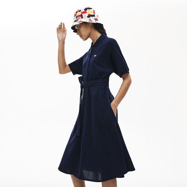 Women's Cotton Piqué Belted Polo Dress, MARINE, hi-res