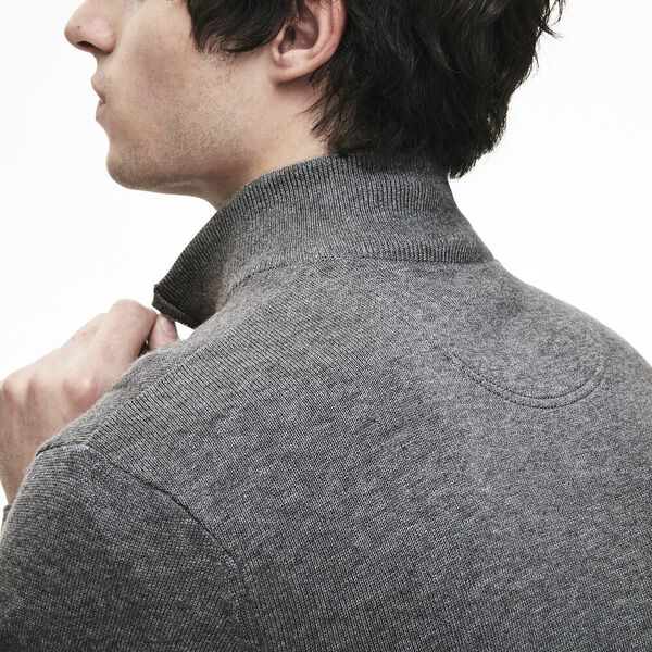 Men's Classic Half Zip Mock Neck Knit, GALAXITE CHINE/FLOUR-STONE, hi-res