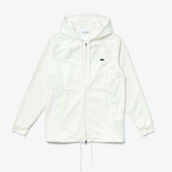 Men's Bicolour Bi-Material Zip Jacket, FARINE, hi-res