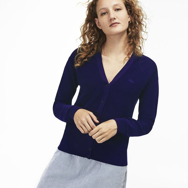 WOMEN'S COTTON RIBBED BUTTON CARDIGAN