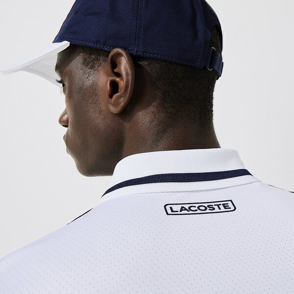 Men's SPORT French Open Edition Second-Skin Polo, WHITE/NAVY BLUE-SUNNY, hi-res