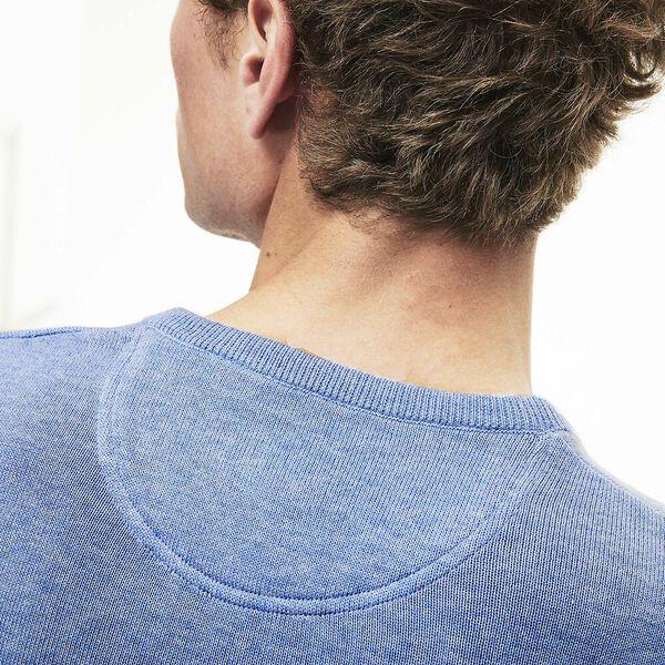 MEN'S V NECK COTTON SWEATER, IPOMEE CHINE/FLOUR/IPOMEE, hi-res