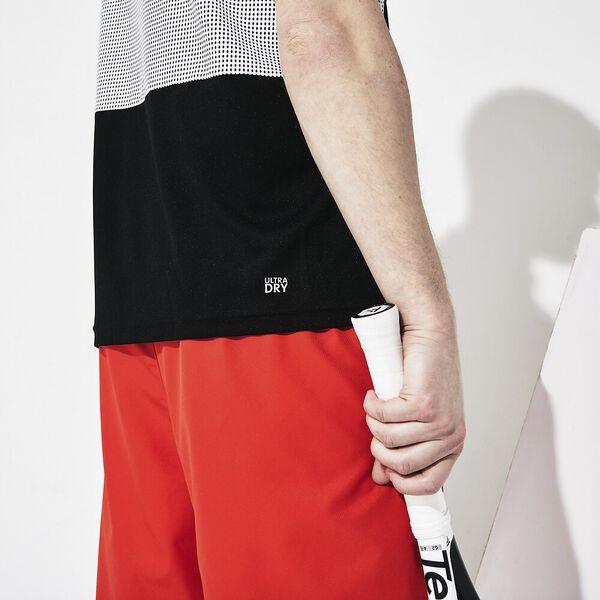 Men's SPORT Mesh Panel Breathable Tennis Polo, NOIR/BLANC-BLANC-NOIR, hi-res