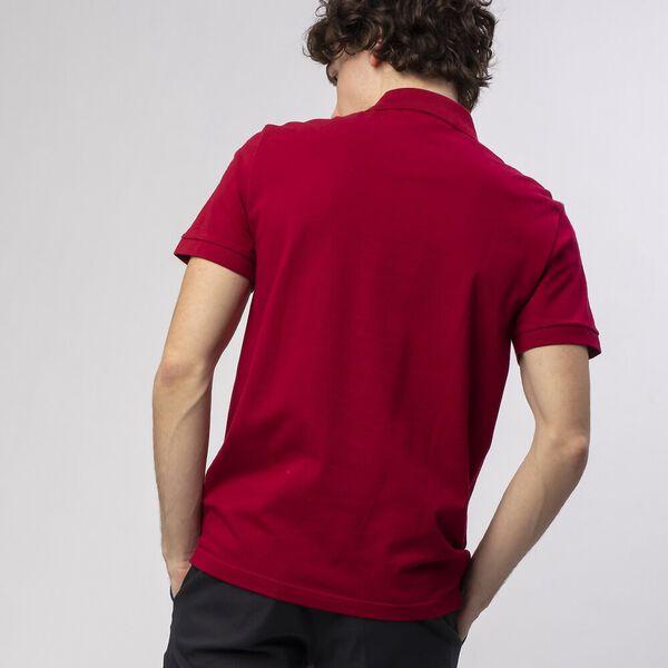 Men's Cotton Piqué Slim Fit Polo, BORDEAUX, hi-res