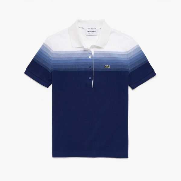 Women's Made in France Organic Cotton Piqué Polo Shirt, METHYLENE/TURQUIN-BLANC, hi-res