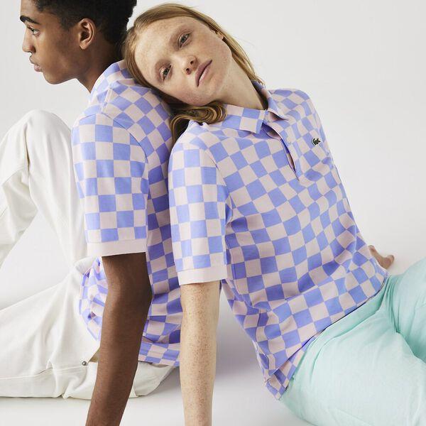 Unisex LIVE Checkerboard Print Cotton Piqué Polo, FREESIA/NIDUS, hi-res