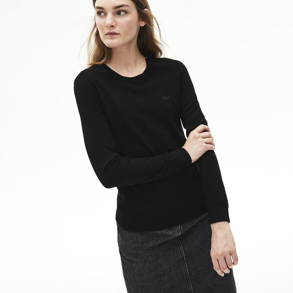 Women's Classic Wool Crew Neck Knit, BLACK, hi-res