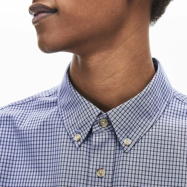 Men's Regular Fit Gingham Cotton Shirt, MARINE SOMBRE/PURPY, hi-res