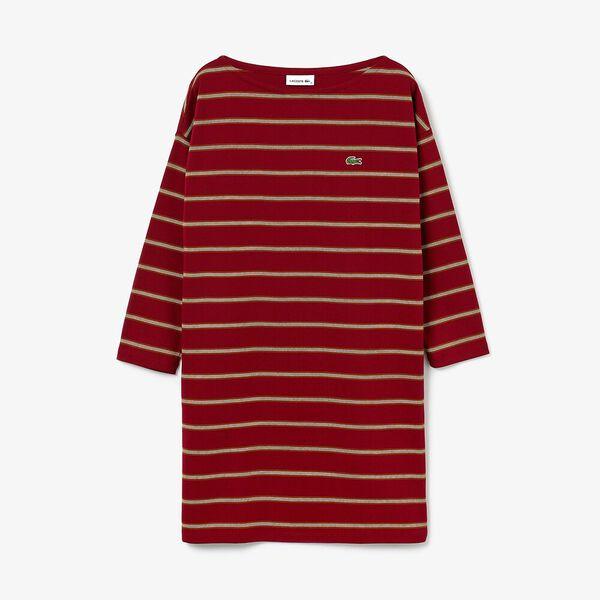 Women's Clean Stripes Heavy Rib Dress, BORDEAUX/TOBACCO-FLOUR, hi-res