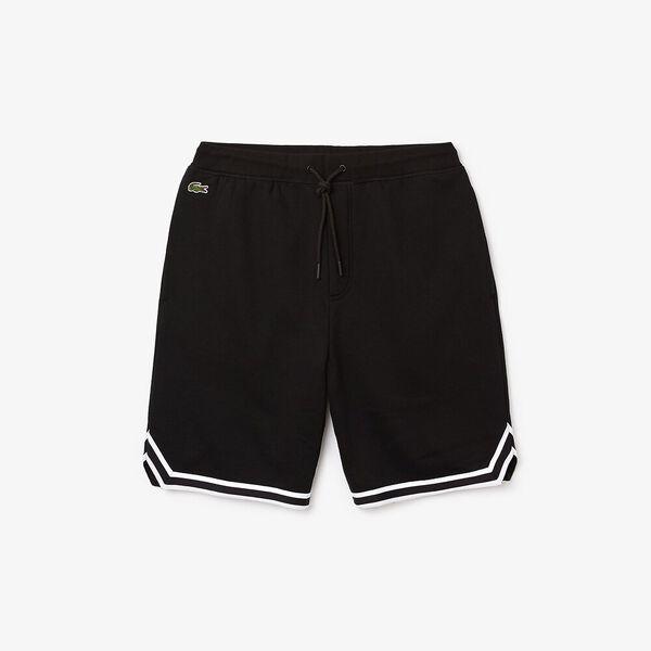 Men's SPORT Striped Hem Fleece Shorts, NOIR/NOIR-BLANC, hi-res