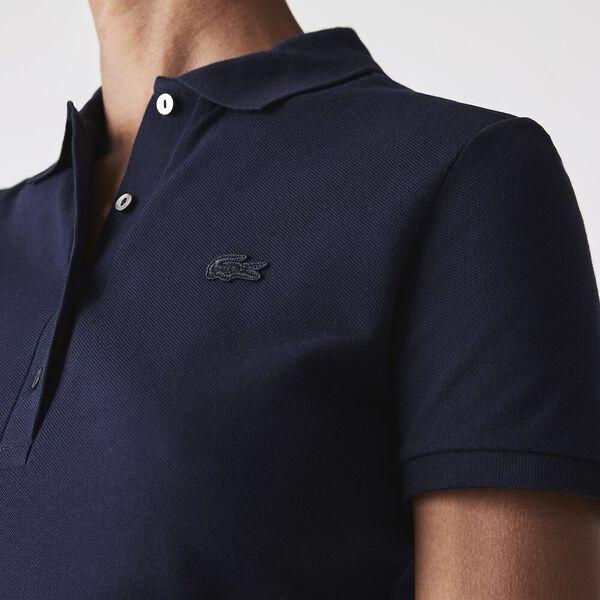 Women's Stretch Cotton Piqué Polo Shirt, MARINE, hi-res