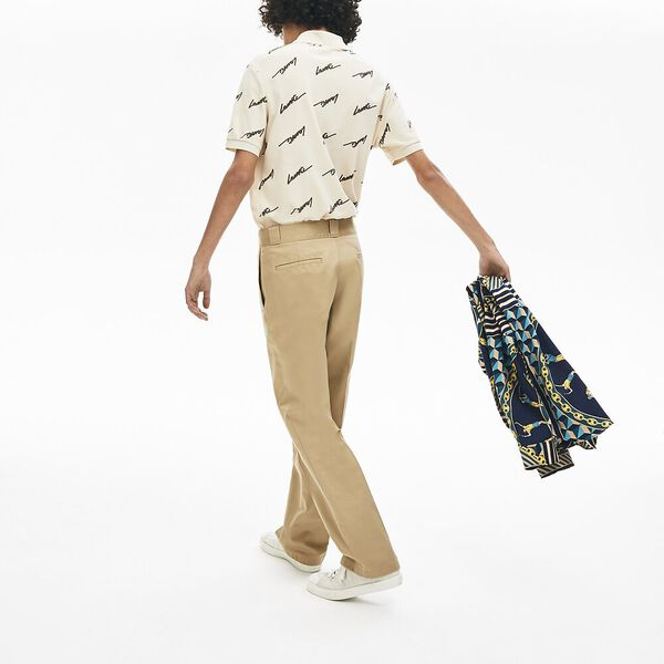 Men's Lacoste LIVE Pleated Cotton Chinos, VIENNOIS, hi-res