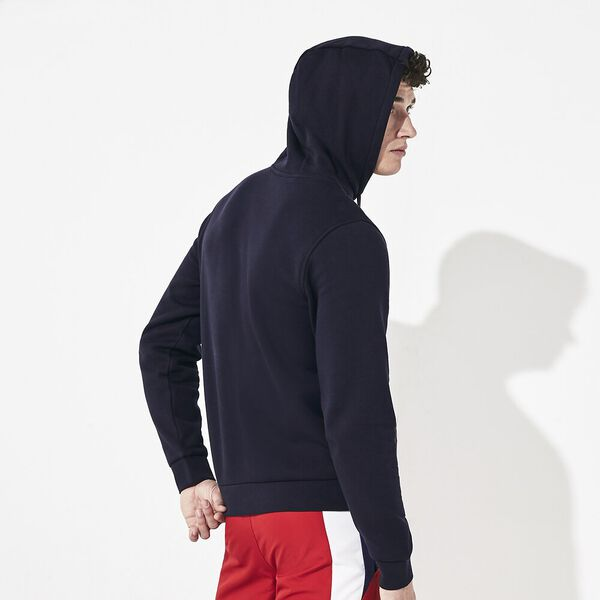 Men's Lacoste Sport Hooded Pullover, NAVY BLUE/SILVER, hi-res
