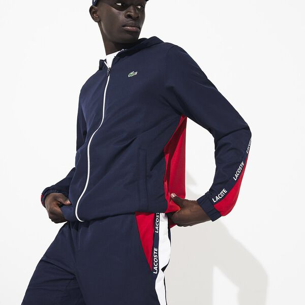 Men's Tennis Zip Front Jacket With Taping, NAVY BLUE/RED-NAVY BLUE, hi-res