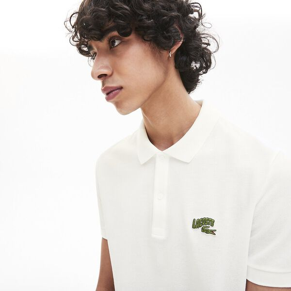 Men's Embroidered Badge Polo Shirt, WHITE, hi-res