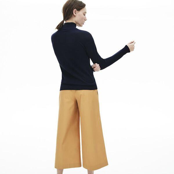 Women's Cotton 3D Turtleneck Sweater, NAVY BLUE, hi-res