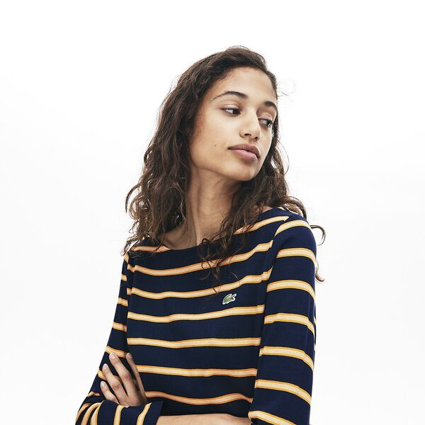 Women's Clean Stripes Long Sleeve Heavy Rib Tee, NAVY BLUE/ABRICOTINE-FLOUR, hi-res