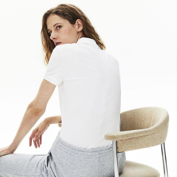 Women's Lacoste Stretch Cotton Piqué Polo Shirt, BLANC, hi-res