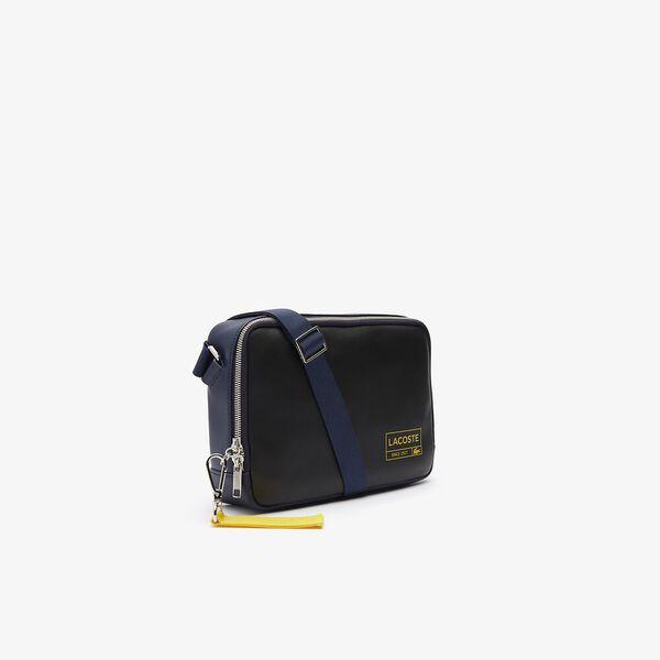 Men's Lettered Rectangular Smooth Leather Crossbody Bag