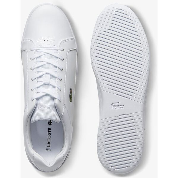 Men's Challenge Textured Leather Sneakers, WHITE/WHITE, hi-res
