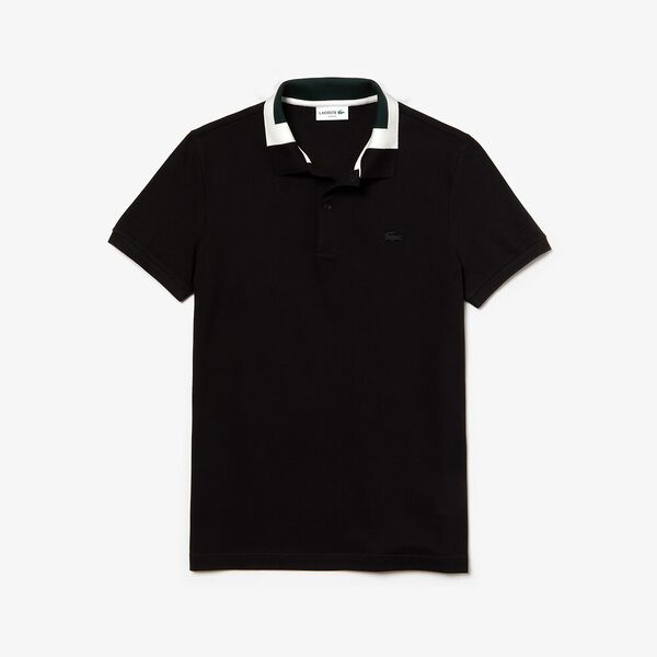 Men's Classic Slim Fit Jacquard Collar Polo, BLACK, hi-res