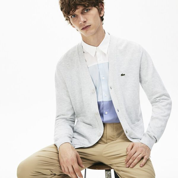 Men's Pockets Buttoned Cotton Cardigan, ALPES CHINE, hi-res