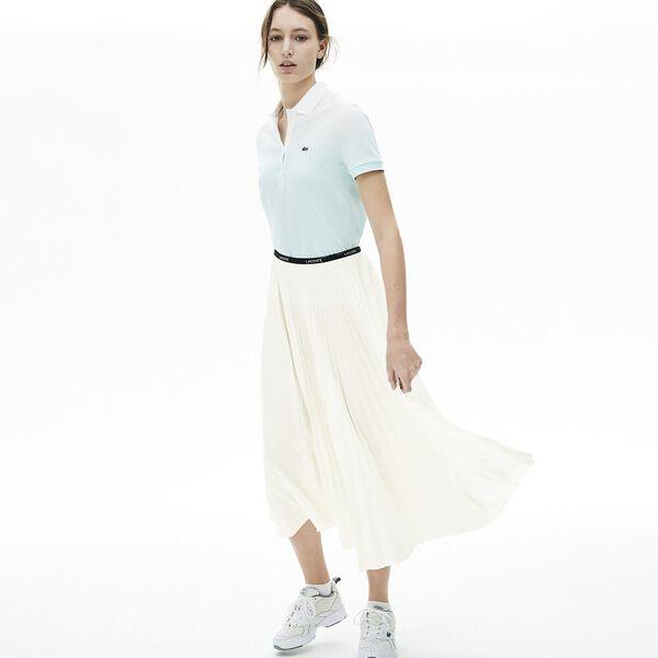 Women's Branded Elasticised Pleated Skirt, FARINE, hi-res
