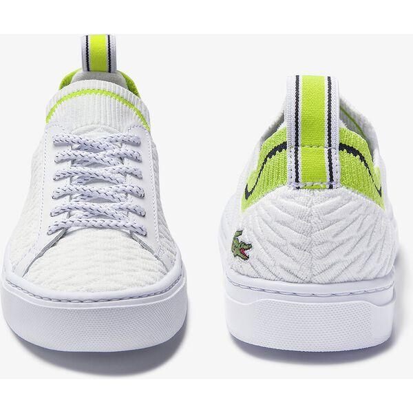 Women's La Piquée Textile Sneakers, WHITE/LIGHT GREEN, hi-res