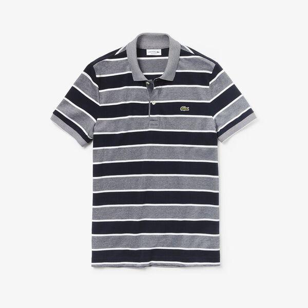 Men's Birds Eye Stripe Polo, FLOUR/NAVY BLUE/WHITE, hi-res