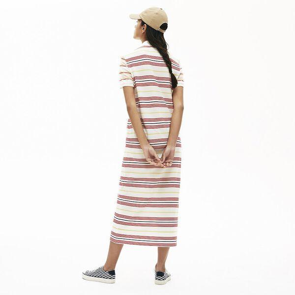 Women's Striped Cotton Buttoned Polo Dress, FLOUR/CORRIDA-DABA-METHYL, hi-res