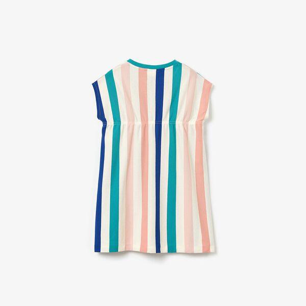 Girls' Striped Print Cotton Piqué Dress, LAPONIE/MULTICO, hi-res