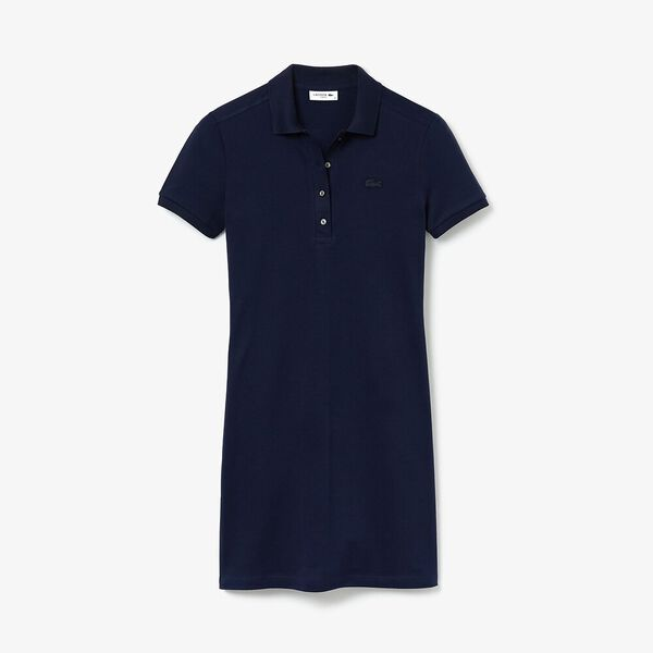 Women's Stretch Cotton Piqué Polo Dress, NAVY BLUE, hi-res