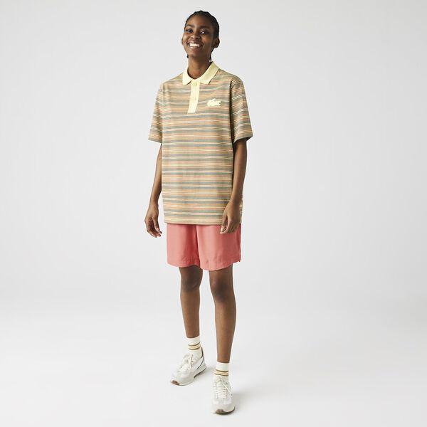 Unisex LIVE Loose Fit Striped Cotton Polo, BRIQUETTE/MULTICO, hi-res