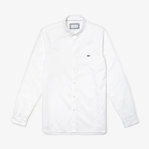 Men's Classic Long Sleeve Slim Stretch Oxford Shirt, WHITE, hi-res