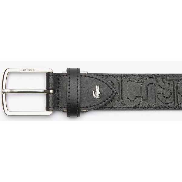 Men's Embossed Leather Tongue Buckle, ALLOVER EMBOSSED NOIR, hi-res