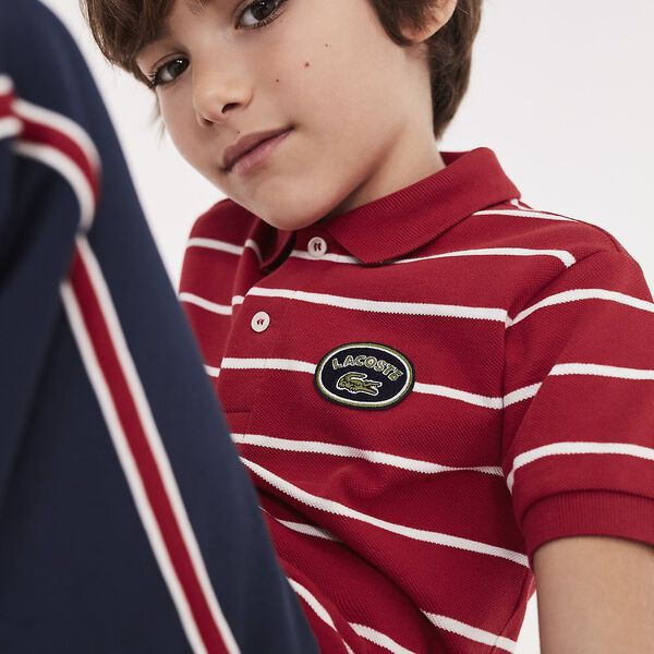 BOYS STRIPE POLO, LIGHTHOUSE RED/FLOUR, hi-res