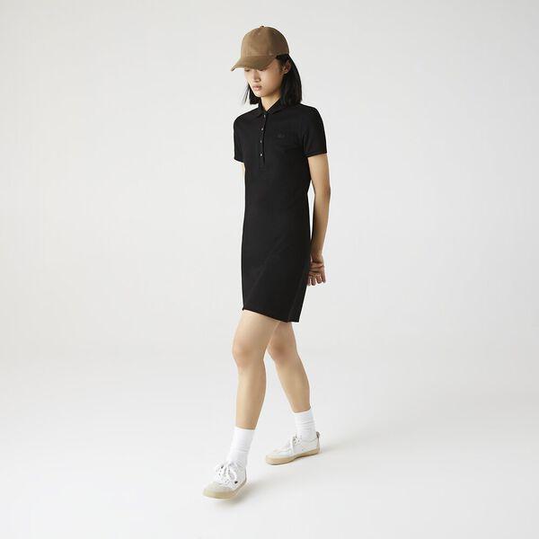 Women's Stretch Cotton Piqué Polo Dress, BLACK, hi-res