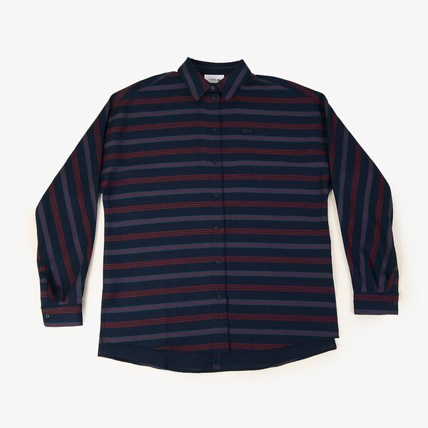 Women's Clean Stripes Long Sleeve Fluid Shirt, NAVY BLUE/WHEELWRIGHT, hi-res