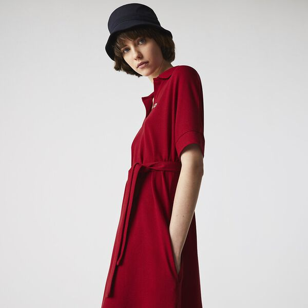 Women's V-neck Fitted Flowy Piqué Polo Dress, LADYBIRD, hi-res