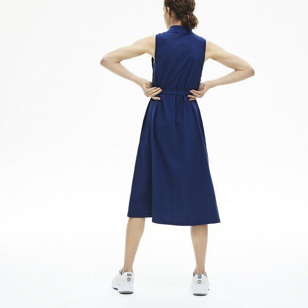 Women's Cotton Piqué Belted Polo Dress, METHYLENE, hi-res