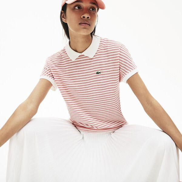 Women's Striped  Polo Shirt, CORRIDA/FARINE, hi-res