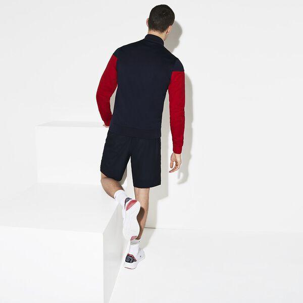 MEN'S COLOUR BLOCK MOCK NECK SWEAT, NAVY BLUE/WHITE/RED, hi-res