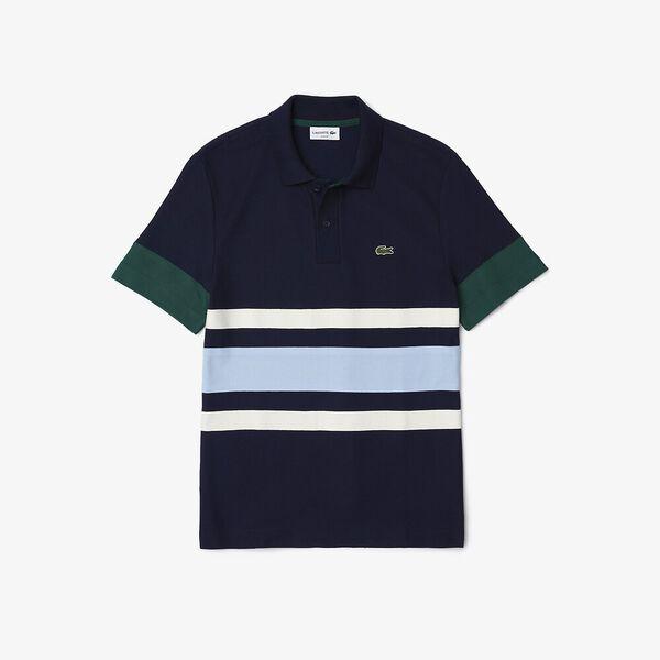 Men's Heritage Slim Fit Colorblock Polo, NAVY BLUE/FLOUR-CREEK-SWI, hi-res