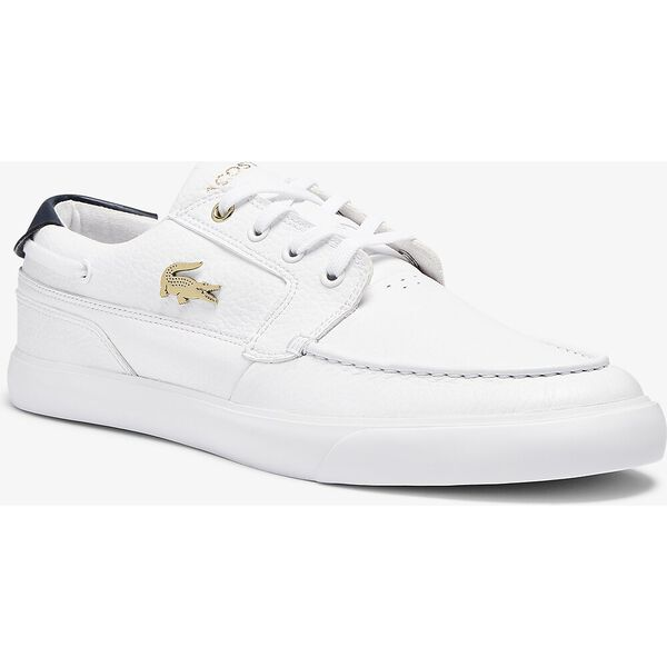 Men's Bayliss Deck Leather Sneakers, WHITE/WHITE, hi-res