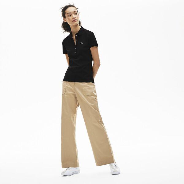 Women's 5 Button Slim Stretch Core Polo, BLACK, hi-res