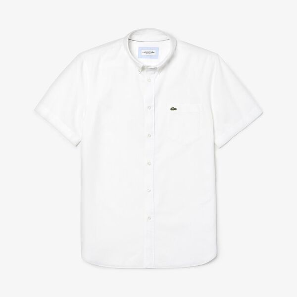 Men's Classic Short Sleeve Reg Fit Oxford Shirt, WHITE, hi-res