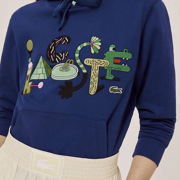 Unisex Lacoste x Jeremyville Print Hooded Sweatshirt, METHYLENE, hi-res