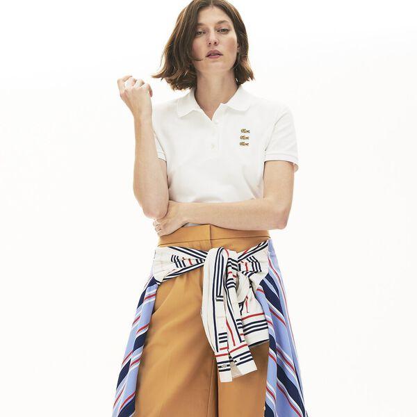 Women's  Stretch Cotton Piqué Golden Crocodiles Slim Polo, BLANC, hi-res